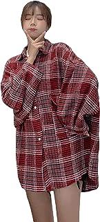 Alhyla レディース シャツ ゆったり だぶだぶ 着痩せ レディース 春 シャツ ワイシャツ ブラウス チェック柄 カジュアル ファッション おしゃれ