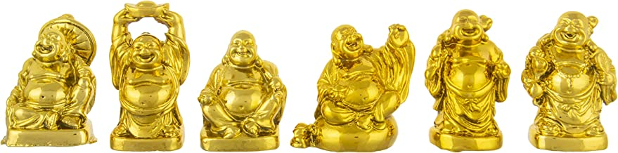 Odishabazaar Feng Shui/Vastu Feng Shui Golden Set of Laughing Buddha 6 Pc Set, for Wealth and Success