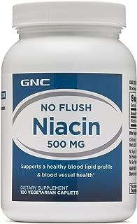 GNC No Flush Niacin 500mg, 100 Caplets, Supports Blood Vessel Health