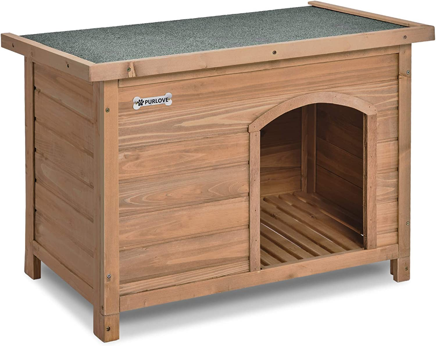 SHINING Large Dog Kennel Solid Wooden Outdoor Indoor Dog Pet House Garden Crate with Removable Floor and Openable Slanted Roof For Easy Cleaning Weatherproof Asphalt (L)
