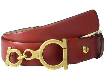 Salvatore Ferragamo Gancio Stud Adjustable Belt (Red Chile) Women