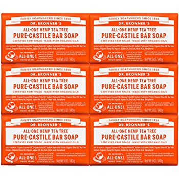 Dr. Bronner's - Pure-Castile Bar Soap (Tea Tree, 5 oz, 6-Pack) - Made with Organic Oils, For Face, Body, Hair & Dandruff, Gentle on Acne-Prone Skin, Biodegradable, Vegan, Non-GMO