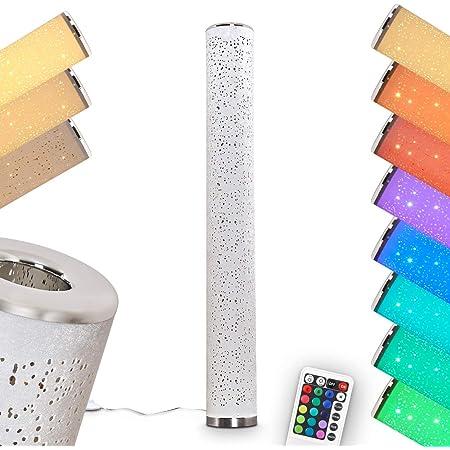 Lampadaire LED Tumbas en tissus blanc, luminaire à variation d'intensité et changement de couleur par télécommande, l'abat-jour crée un effet scintillaint, 8 Watt, max. 700 Lumen, 3000 Kelvin