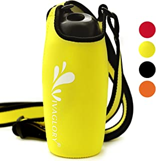 Vivaglory Insulated Neoprene Water Bottle Carrier with Adjustable Shoulder Strap, Fits Bottle with Diameter in 3.2inch-4.0inch