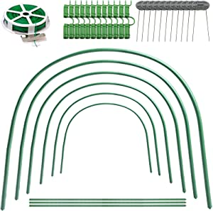 Tainjia 6Pcs Greenhouse Hoops Rust-Free Grow Tunnel, 4.9ft Long Steel with Plastic Coated Plant Supports for Garden Fabric, Plant Support Garden Stakes (25.6