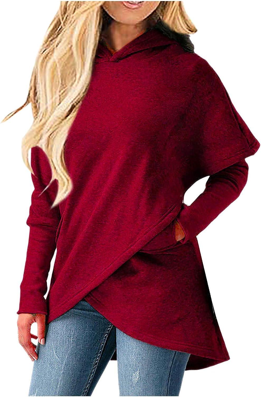 Forthery-Women Printed Hoodie Casual Long Sleeve Crew Neck Hooded Irregular Hem Sweatshirt with Pocket