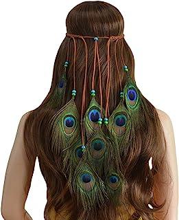 Simsly Boho pióro opaska na głowę hipisowska indyjska ozdoba na głowę lata 20. pióro głowa łańcuszek biżuteria akcesoria n...