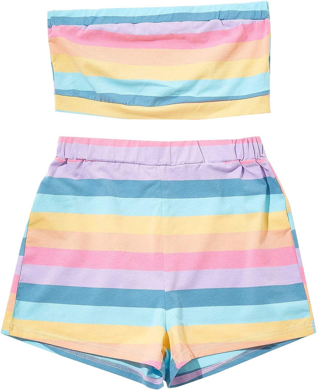 Romwe Women's 2 Piece Short Set Rainbow Striped Crop Tube Tops and Elastic Waist Short