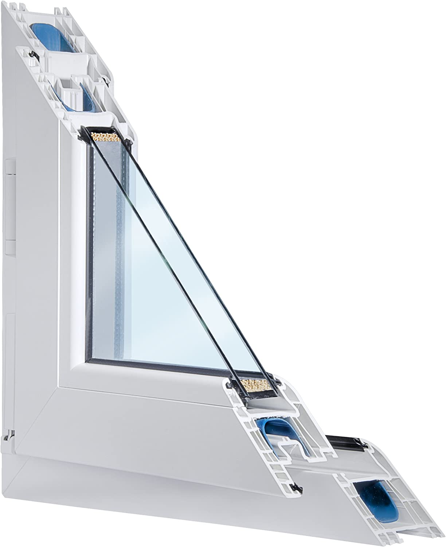 Fenster weiss 2-fach verglast 91x119 DK-Rechts als Ma/ßanfertigung BxH kipp- und drehbar