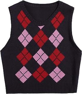 Floerns Womens Strawberry Print Sleeveless Round Neck Crop Sweater Vest