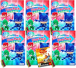 PJ Masks Party Favors Pack ~ Bundle of 6 PJ Masks Play Packs Filled with Stickers, Coloring Books, Crayons (PJ Masks Party Supplies)