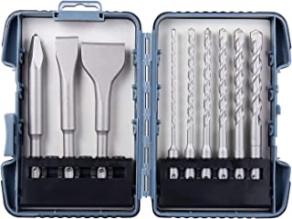 Firecore SDS-plus Rotary Hammer Drill Bits & Chisels Set, 9pcs Masonry Hole Tool with Storage Case