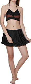 RIKOSA Women's Babydoll Pleated Mini Skirt and Floral lace Bra Free Size