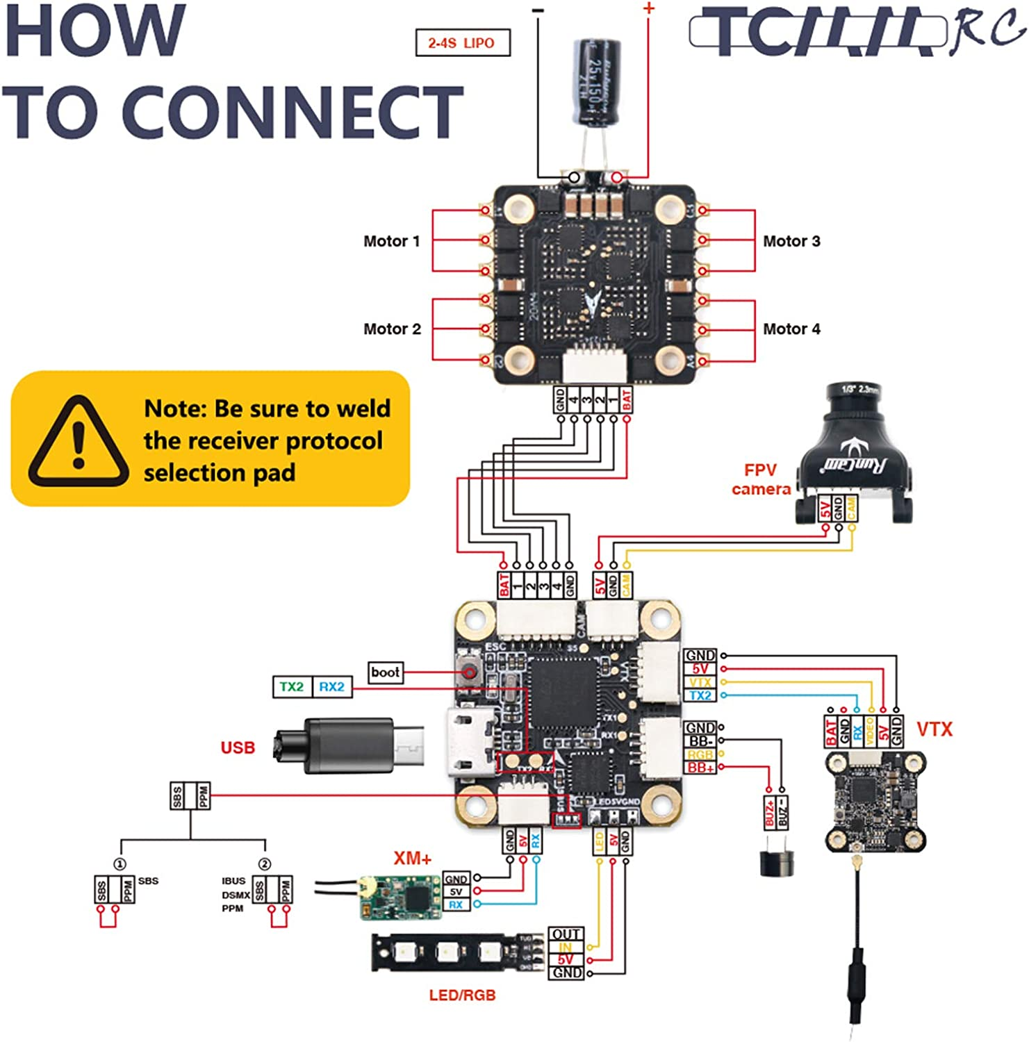 4 in 1 40A ESC BLHeli/_S for FPV Racing Drone Quadcopter TCMMRC 2-5S Mini Flight Tower System F4 Flight Controller