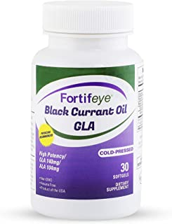 Fortifeye Vitamins Black Currant Oil GLA, Cold Pressed, Hexane Free, High Potency Gamma Linolenic Acid Supplement - Great for Immune System, Hair, Skin and Heart, 30 Day Supply - Softgel Capsules