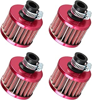 ESUPPORT 12mm Mini Red Universal Car Motor Cone Cold Clean Air Intake Filter Turbo Vent Breather Pack of 4