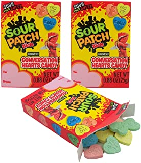 Valentine's Day Sour Patch Kids Conversation Hearts Candy, 0.88 Ounce, Pack of 3