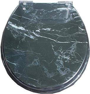 LYQQQQ Marmering Toilet Deksel Met Stille Slow Down Urea-Formaldehyde Hars Ultra Resistent Top Vaste U/V/O-Vorm Compatibel...