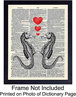 Seahorse Love Hearts Dictionary Art Print Home Decor - Upcycled Wall Art Poster - Rustic Nautical Home Decorations for Beach or Lake House - Great Gift for Steampunk Fans - 8x10 Photo Unframed