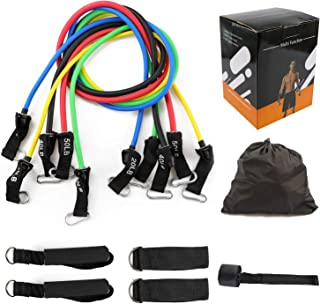 Sanzitop Resistance Bands Set (11pcs), Workout Bands with Door Anchor, Handles and Ankle Straps - Stackable Up to 150 lbs ...