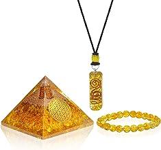 Orgonite Pyramid Pendant- Emf Protection Orgone Energy Generator - 3 in 1 Citrine Chakra Bracelet Orgonite Pyramid Pendant for – Chakra Balance Deep Meditation Inner Mind Healing
