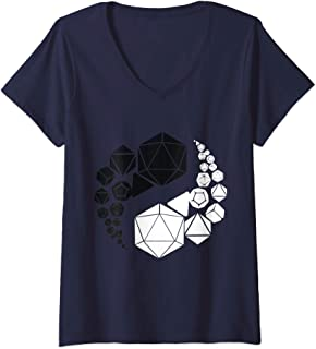 Womens Yin Yang Dice Role Playing Funny Tabletop Giveth And Taketh V-Neck T-Shirt