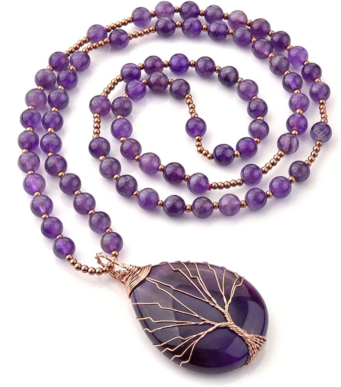 Top Plaza Natural Stone Beads Healing Crystal Necklace Tree of Life Wire Wrapped Teardrop Gemstone Pendant Jewelry for Womens Girls Mother