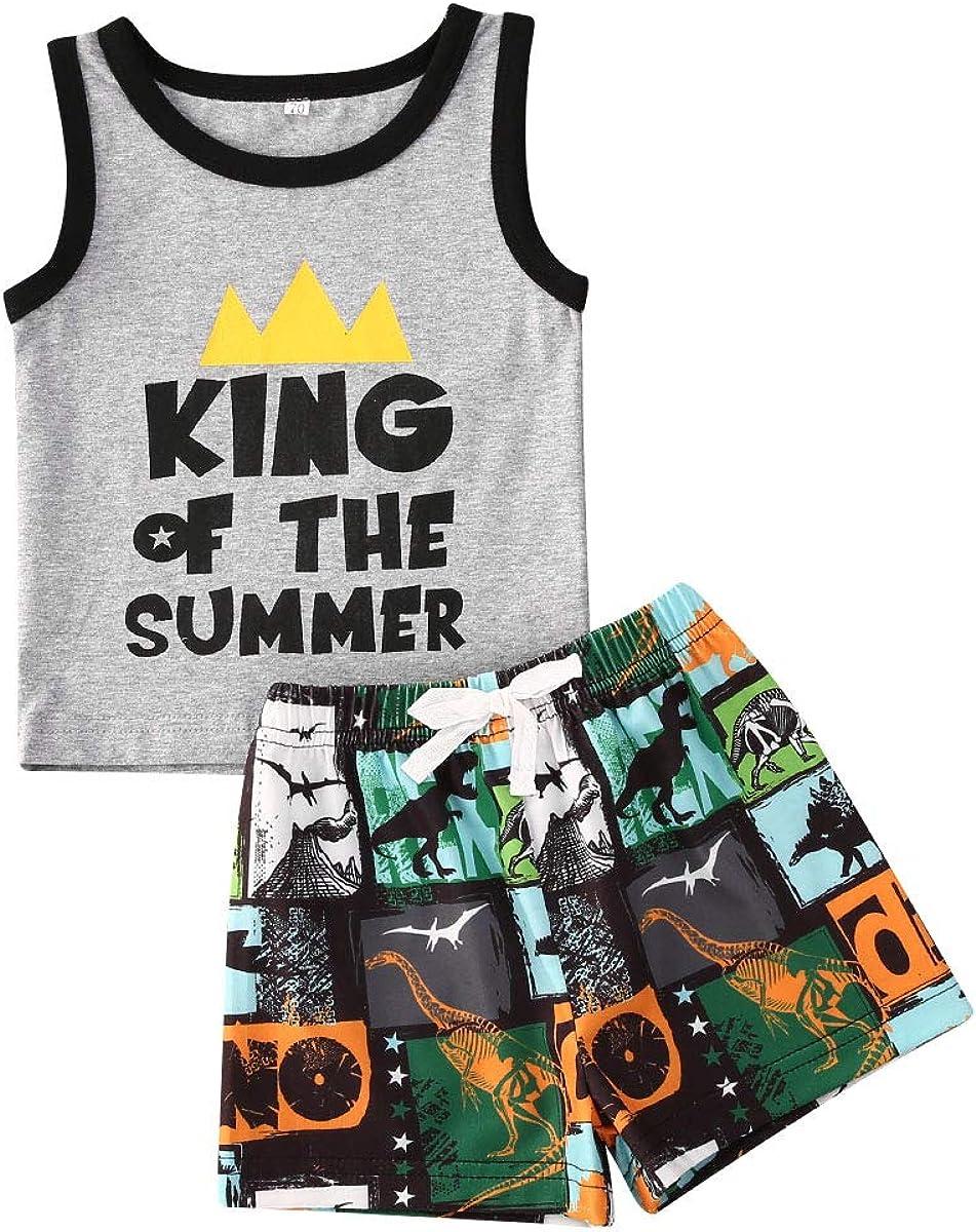 Toddler Infant Baby Boy Summer Clothes Sleeveless Cartoon T-Shirt Top Camo Print Shorts Set 2Pcs Outfit
