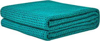 PHF Cotton Waffle Weave Bed Blanket Perfect for Bed Home Decor in Winter Queen Size Green