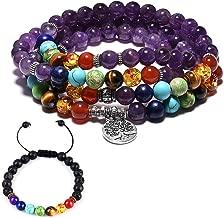 CAT EYE JEWELS 6mm 8mm Natural Stone 108 Buddhist Prayer Beads 7 Chakra Multilayer Yoga Meditation Mala Tree of Life Bracelet Necklace Healing Lava Rock Beads Diffuser Bracelet