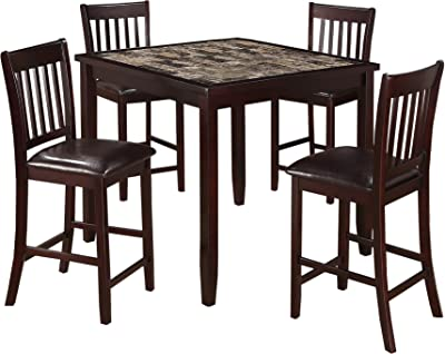 Benjara Five Piece Dining Set with 1 Table and 4 Leatherette Padded Chairs, Brown