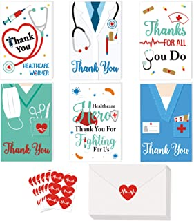 36 Pack Healthcare Workers Thank You Card Medical Appreciation Card for Nurses, Doctors EMTs Essential Workers Gift Card S...