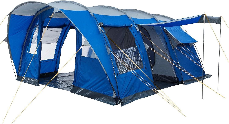 CampFeuer Campingzelt für für für 5 Personen   Großes Familienzelt mit 3 Eingängen und 3.000 mm Wassersäule   Tunnelzelt   blau   silber   Gruppenzelt B003E6CBB8  Keine Begrenzung zu üben e29439