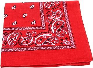 100% Cotton Double Sided Print Paisley Bandana Scarf, Head Wrap - Red, 22