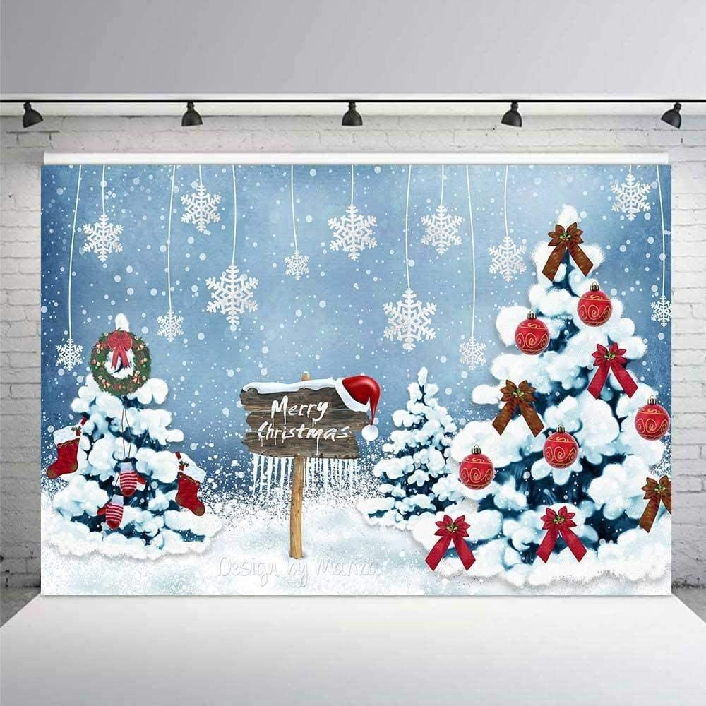 Zhy Merry Christmas Banner Photography Backdrop 5x7ft Santa Claus Christmas Hats Backdrop Theme Party Decoration Background Props Studio Booth Props LEE016