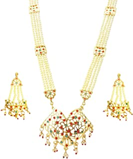 Mehrunnisa Traditional Jadau & Pearls Pendant Necklace & Earrings Set For Women (JWL1475)