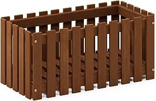Furinno FG18453 Tioman Hardwood Patio Furniture Outdoor Slat Style Flower Planter Box, Natural