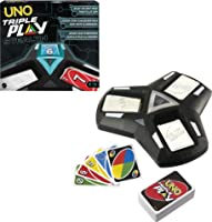 UNO Triple Play Family Card Game with Card-Holder Unit with 3 Modes, Lights & Sounds & 112 Cards for Kid, Teen, Family &...