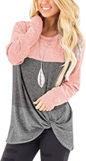 Women's Casual Long Sleeve T-Shirt Tops Twist Knot Front...