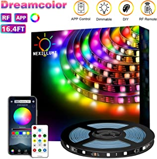 Dreamcolor LED Strip Lights with Remote, App Control 210 Chasing Modes 16.4Ft Pixel LED Strip 5050 RGB Light Strip with Built-in ICS Color Changing Addressable Light Strip