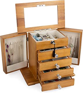 Large Real Natural Hardwood Wooden Jewelry Box Locked with a Key WJC5AK