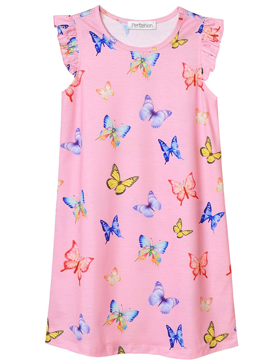Image of Colorful Sleeveless Pink Butterflies Nightgown for Girls - See More Designs