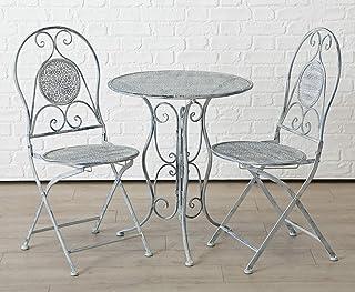 Homeshop - Juego de mesa para jardín (aspecto desgastado), color gris y blanco