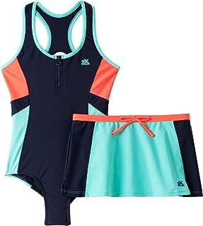 Zero Xposur Big Girls Colorblock Swimsuit Skirt Set