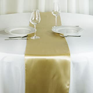 BalsaCircle 10 pcs 12 x 108 inch Champagne Satin Table Runners Wedding Table Top Party Supplies Reception Linens Decorations