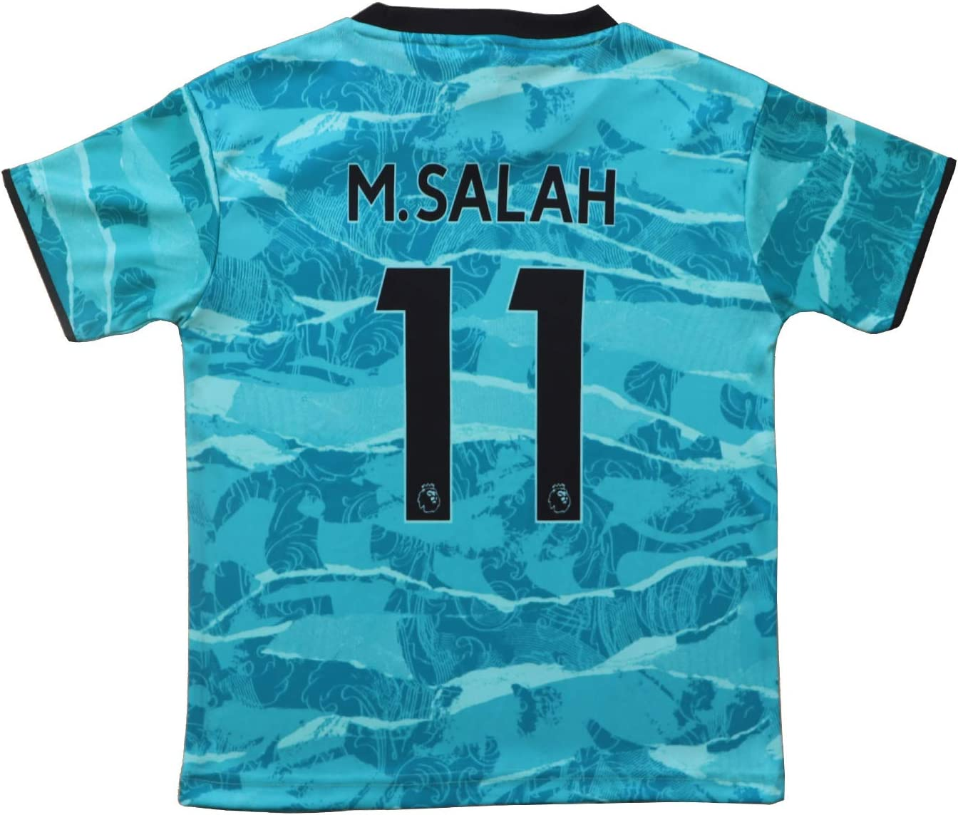 BIRD BOX 2020//2021 Liverpool Away #11 Mo Salah Blue Soccer Kids Jersey Shorts Socks Set Youth Sizes