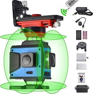 4X360クロスラインレーザーレベリング、リモートコントロール16ライングリーンビーム4平面レーザー2x360°垂直2x360°水平ライン、より広い範囲の照明、高精度、自動セルフレベリング