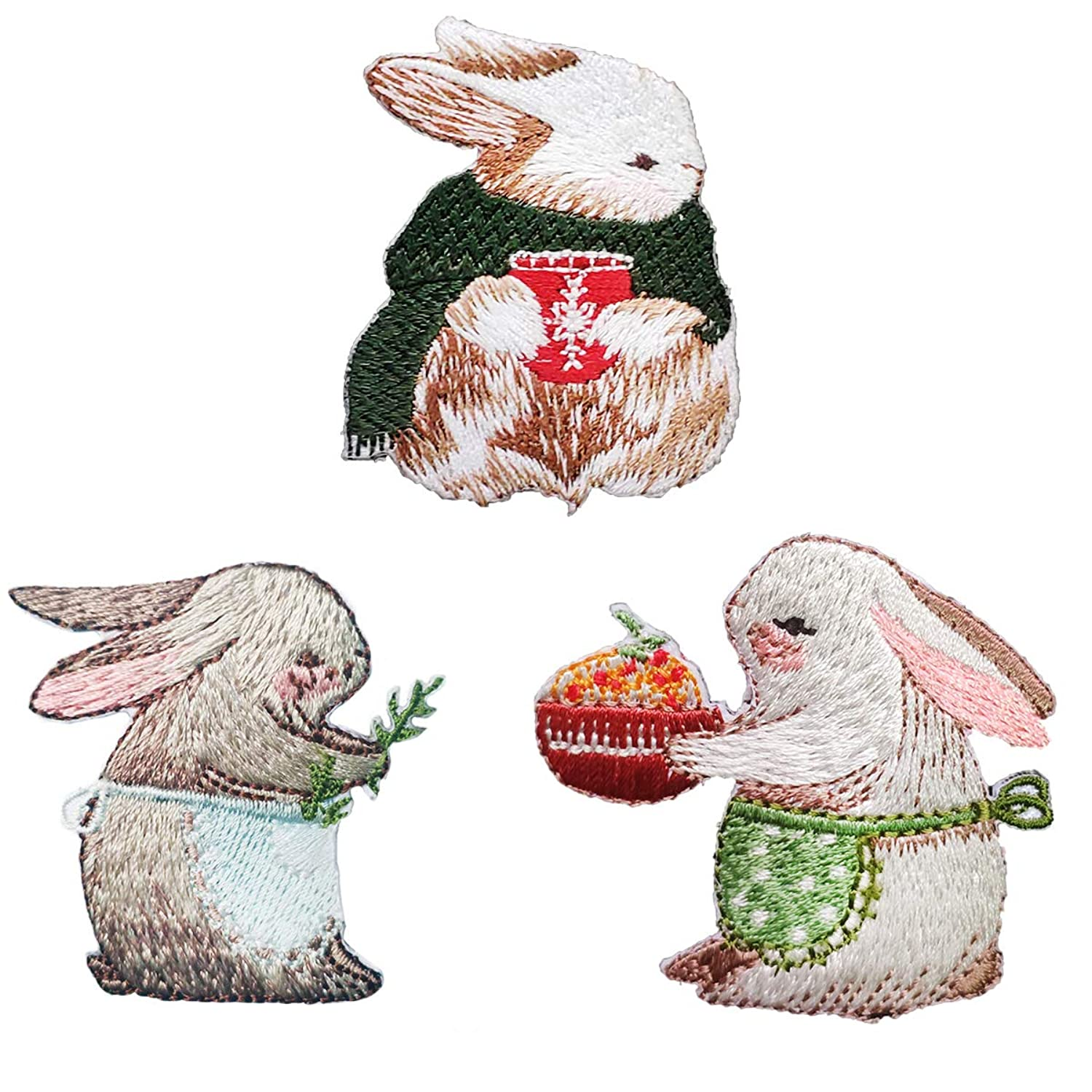 Misscrafts 3pcs Iron on Patches Cute Rabbit Iron Embroidery Applique Decoration DIY Patch for Backpack Clothing Men Women Kids
