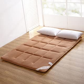 ColorfulMart Champagne Brown Flannel Japanese Floor Futon Mattress. Sleeping Mattress, Tatami Mat, Japanese Bed Roll, Foldable Roll Up Mattress, Rolling Bed Shikibuton. Full Size