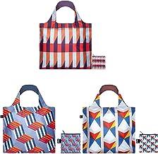 حقائب تسوق هندسية قابلة لإعادة الاستخدام من لوكي، مجموعة من 3 قطع، مكعبات، خطوط، مثلثات